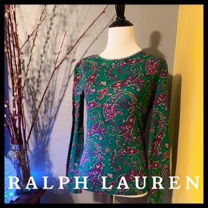 Ralph Lauren Vintage Long Sleeve Top Small Paisley